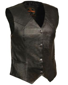 Milwaukee Leather Women's Classic Four Snap Vest - 3XL, Black, hi-res