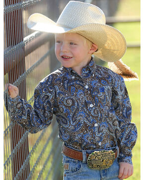 Cinch Infant Boys' Match Dad Paisley Long Sleeve Button Down Shirt (3-18mos.), Multi, hi-res