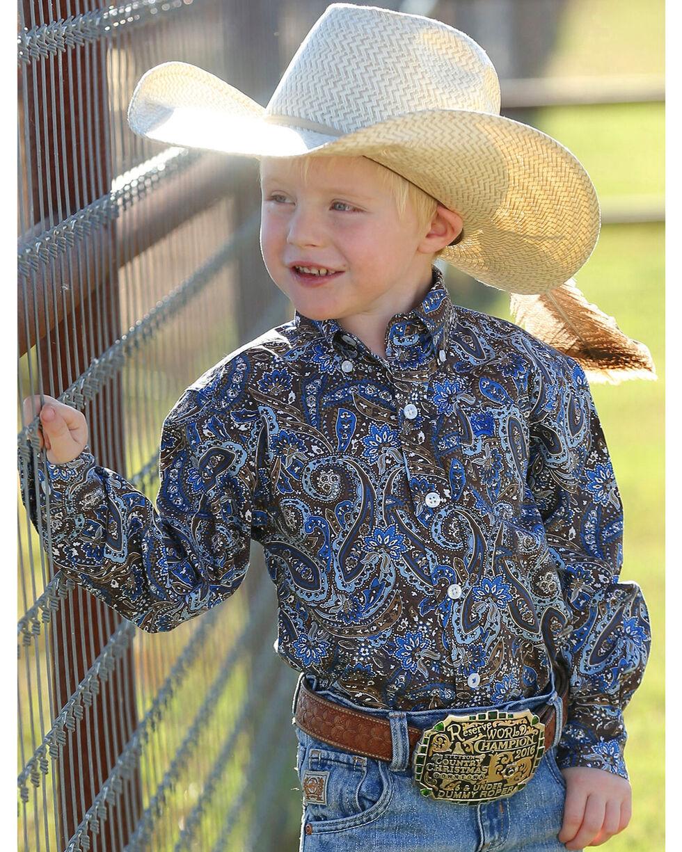 Cinch Infant Boys' Match Dad Paisley Long Sleeve Button Down Shirt (3-18mos.), Multi, hi-res