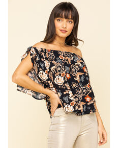 Shyanne Women's Black Boho Floral Off The Shoulder Festival Top, Black, hi-res