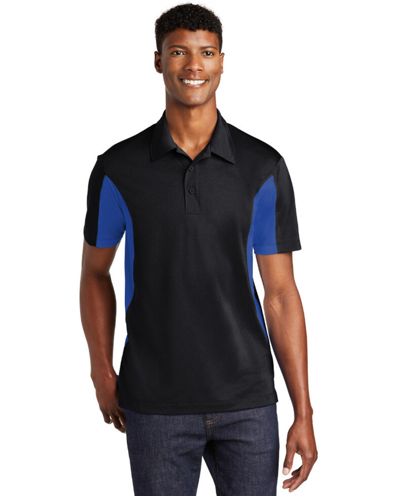 Sport Tek Men's Blue Colorblock Sport Wick Short Sleeve Work Polo Shirt , Black/blue, hi-res