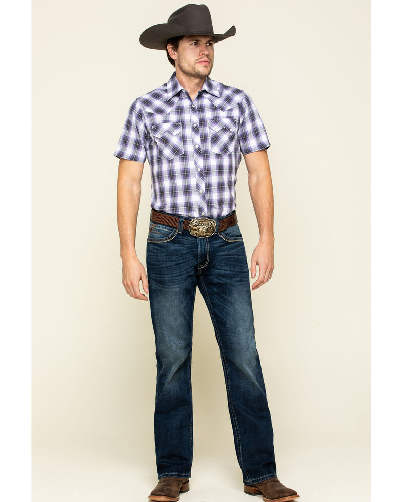 Wrangler Retro Men's Purple Small Plaid Short Sleeve Western Shirt , Purple, hi-res
