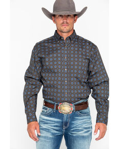 Tuf Cooper Men's Poplin Print Long Sleeve Western Shirt , Grey, hi-res