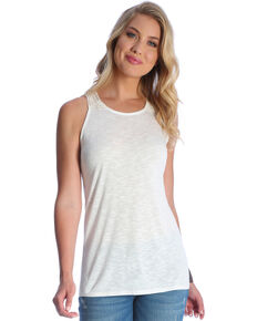 Wrangler Women's White Sleeveless Crochet Trim Tank, Cream, hi-res