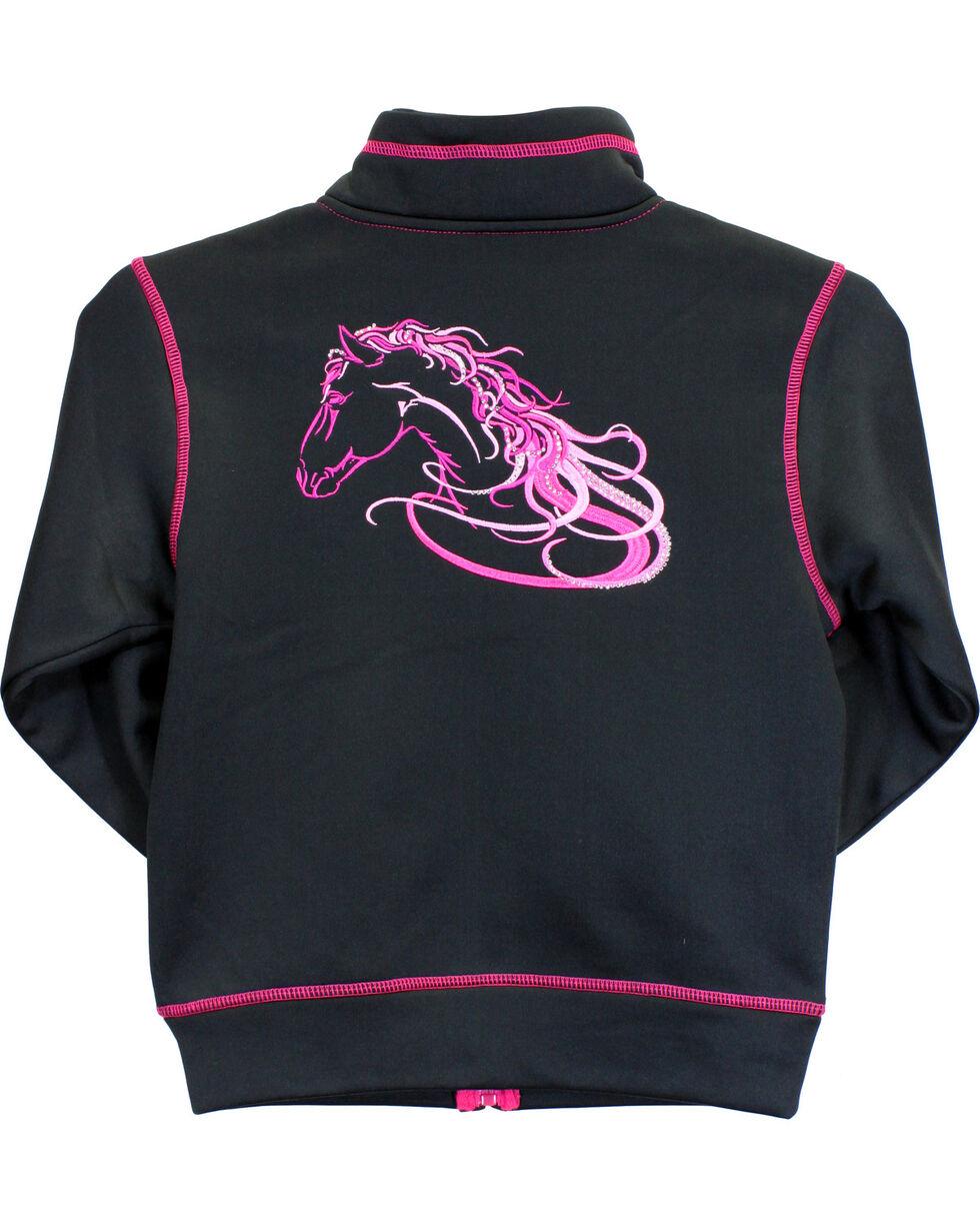Cowgirl Hardware Infant/Toddler Girls' Horse Full Zip Jacket, Black, hi-res