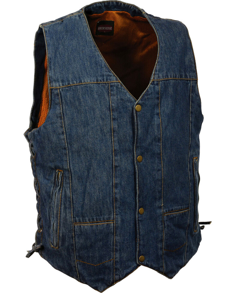 Milwaukee Leather Men's 10 Pocket Side Lace Denim Vest - 3X, Blue, hi-res