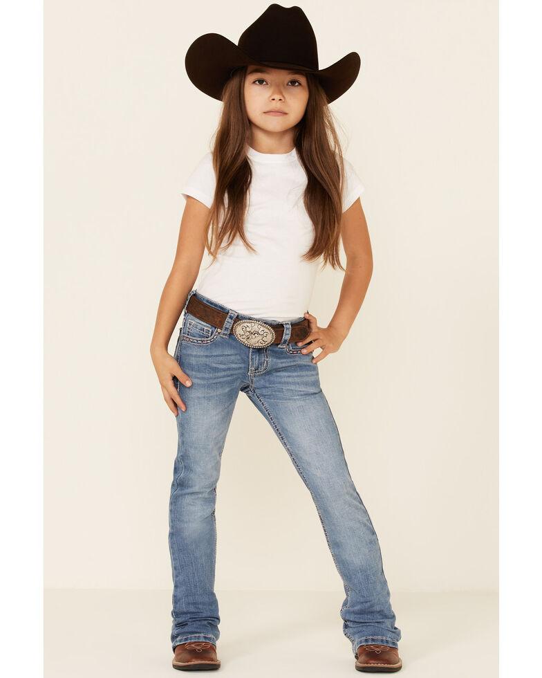 Shyanne Girls' Medium Wash Longhorn Pocket Regular Bootcut Jeans - Little, Blue, hi-res
