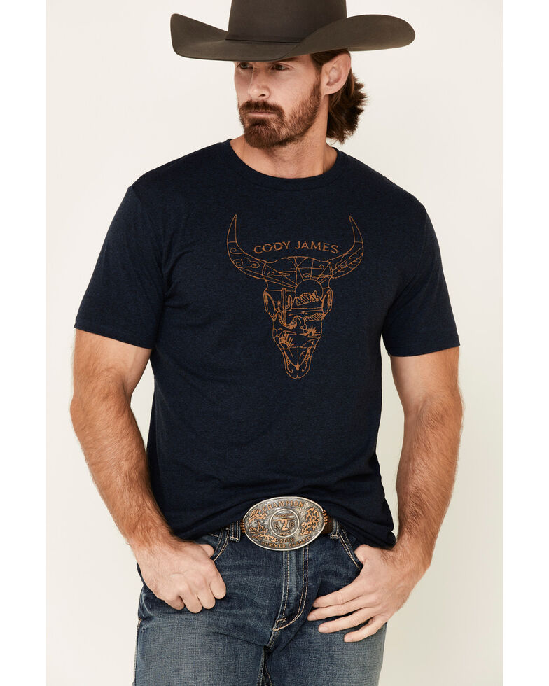 Cody James Men's Desert Bull Skull Graphic Short Sleeve T-Shirt , Navy, hi-res
