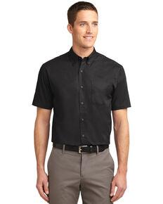 Port Authority Men's Solid Wrinkle Free Short Sleeve Work Shirt , Black, hi-res