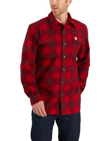 Carhartt Men's Hubbard Flannel Long Sleeve Work Shirt - Big, Dark Red, hi-res