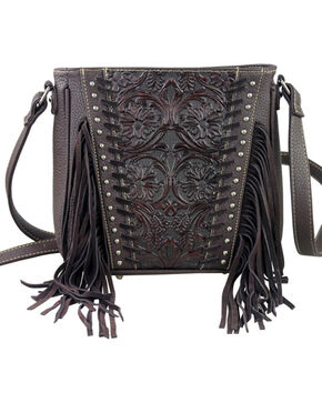 Montana West Trinity Ranch Coffee Tooled Design Concealed Handgun Collection Messenger Bag, Brown, hi-res