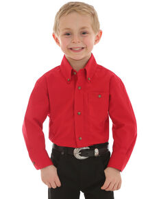 Wrangler Boys' Red Classic Solid Long Sleeve Western Shirt , Red, hi-res