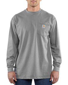 Carhartt Men's Flame-Resistant Solid Long-Sleeve Work Shirt - Big & Tall, Grey, hi-res