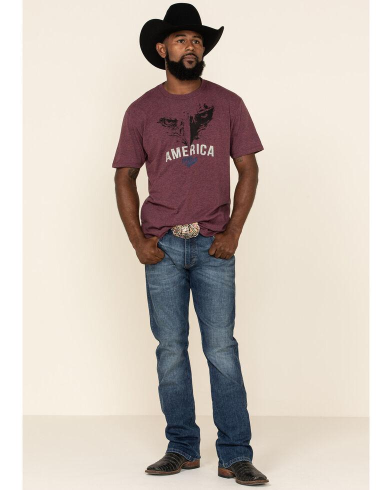 Moonshine Spirit Men's America First Graphic Short Sleeve T-Shirt , Burgundy, hi-res
