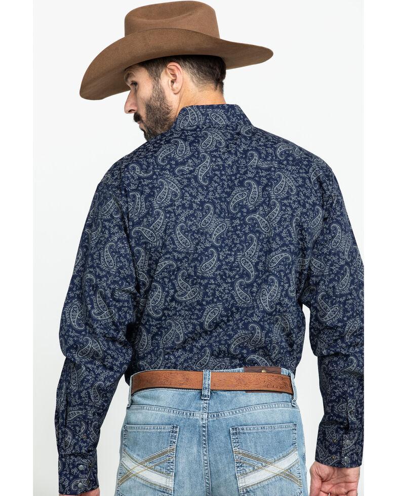 Cinch Men's Navy Paisley Snap Long Sleeve Western Shirt, Navy, hi-res