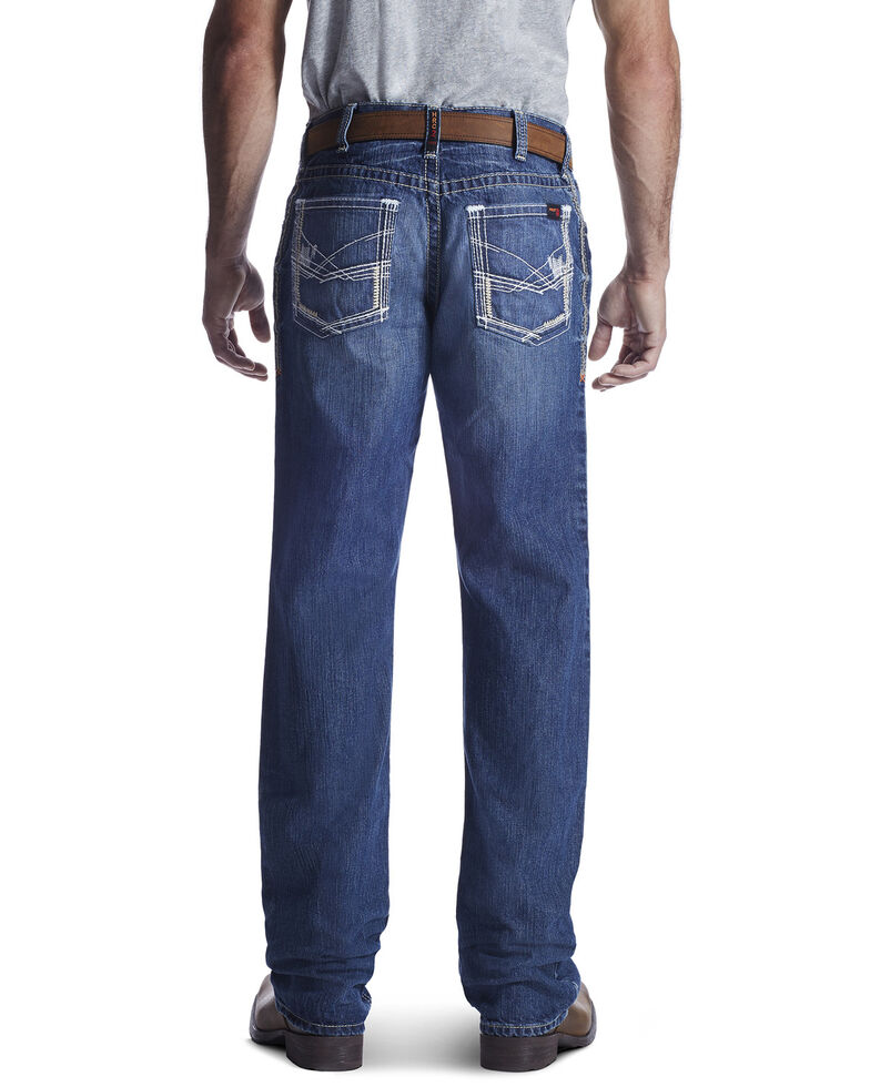 Ariat Men's Flame Resistant M4 Ridgeline Bootcut Work Jeans - Big , Blue, hi-res