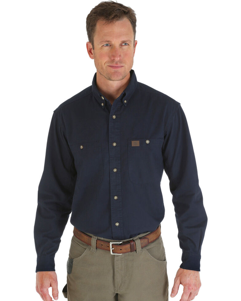 Riggs Workwear Men's Long Sleeve Twill Work Shirt, Navy, hi-res