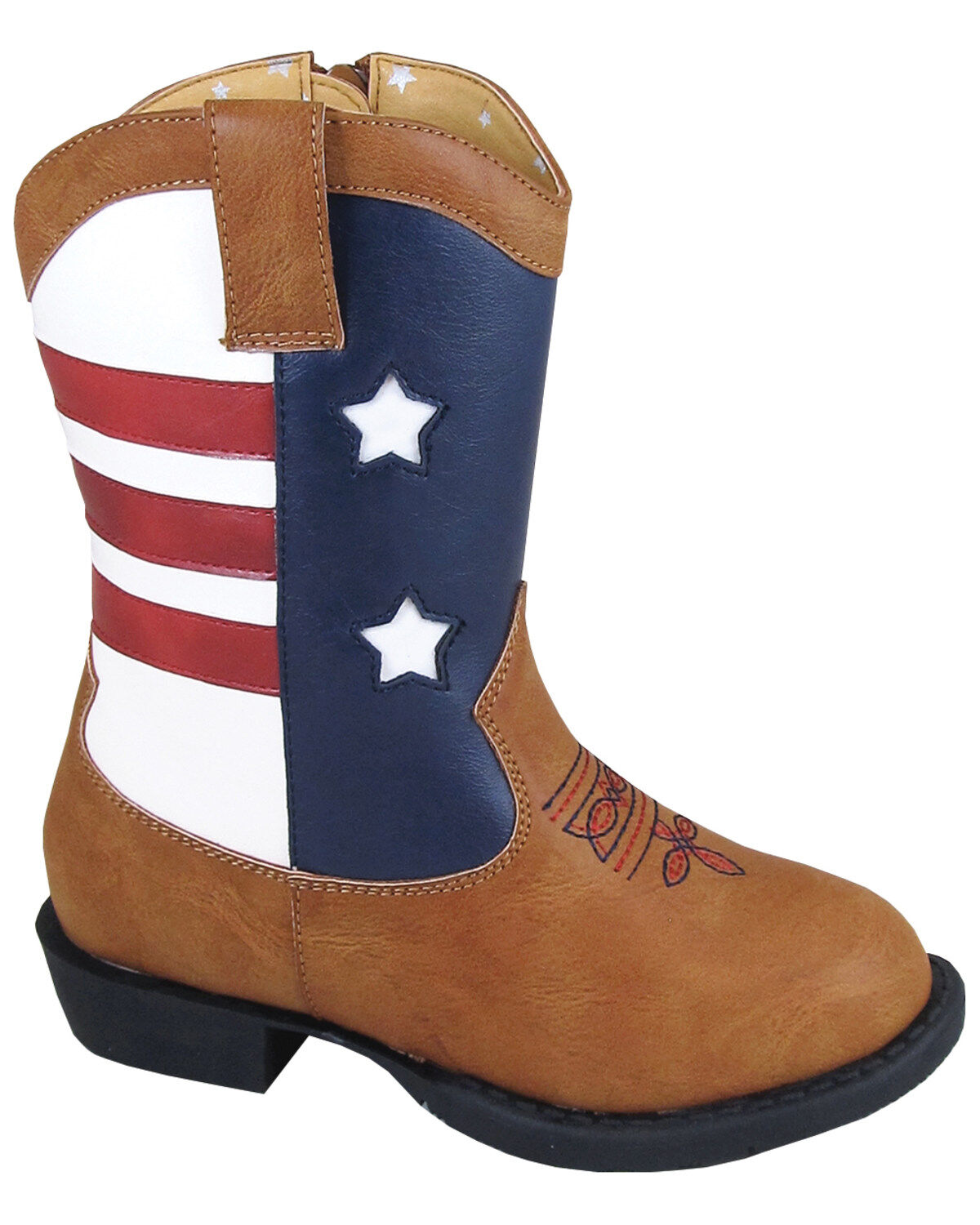 Vintage Brown Smoky Toddlers Stars and Stripes Patriotic Western Cowboy Boots