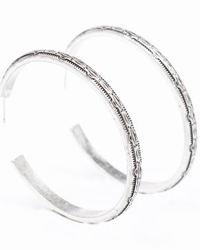 Shyanne Women's Bella Aztec Print Hoop Earrings, Silver, hi-res