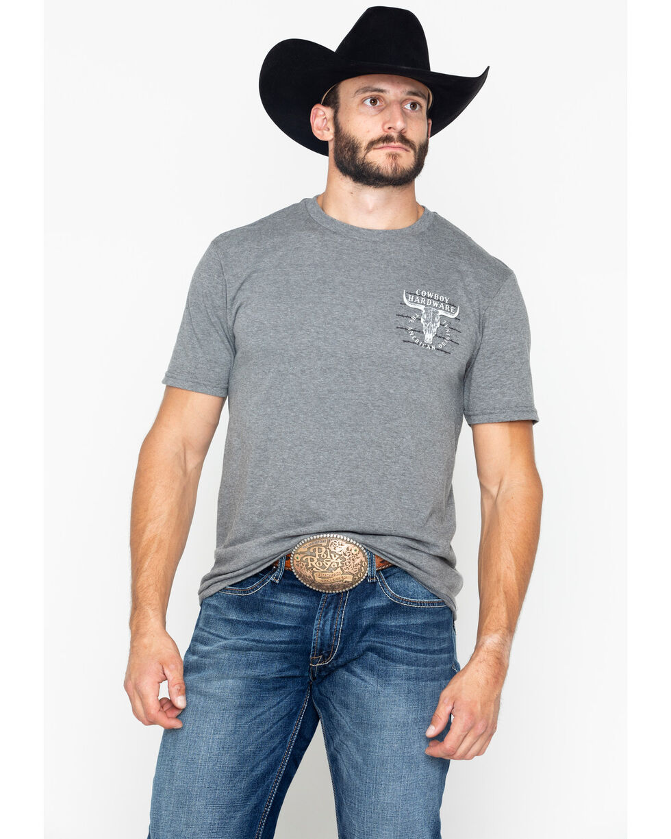 Cowboy Hardware Men's American Original Short Sleeve Tee , Dark Grey, hi-res