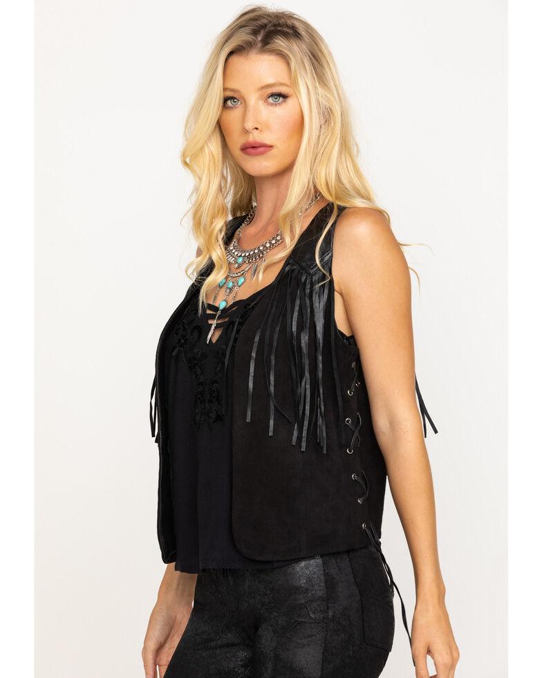 Idyllwind Women's Lace Me Up Fringe Leather Vest, Black, hi-res