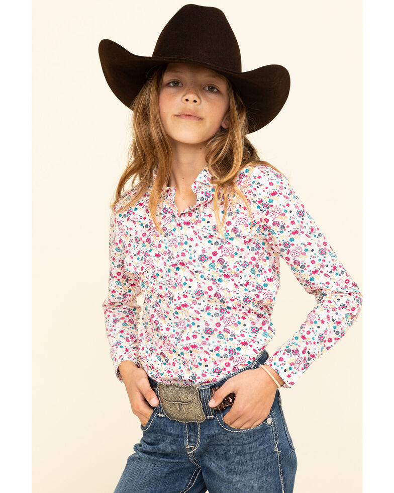 Shyanne Girls' Multi Floral Print Long Sleeve Western Shirt, Multi, hi-res
