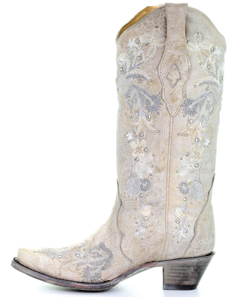 Corral Women's White Floral Embroidered Western Boots - Snip Toe, White, hi-res