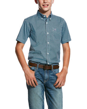 Ariat Boys' Murino Stretch Geo Print Short Sleeve Western Shirt , Blue, hi-res