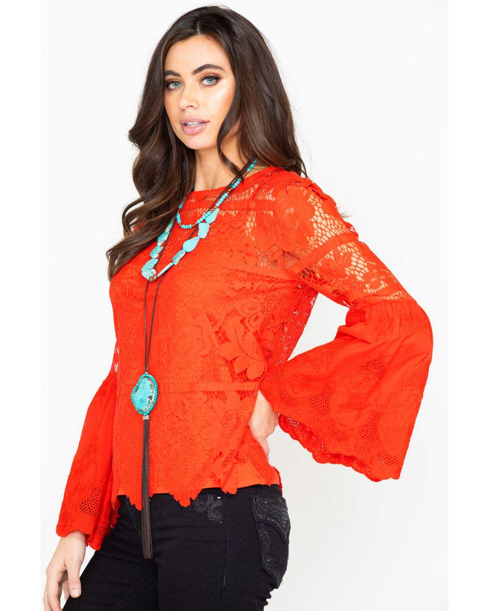 Bodywaves Women's Crochet Lace Bell Sleeve Top, Red, hi-res