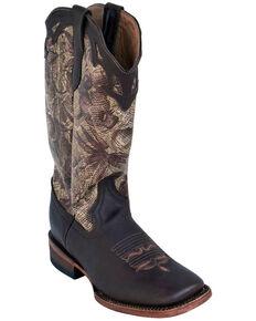 Ferrini Women's Mocha Floral Western Boots - Square Toe, Chocolate, hi-res