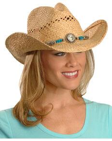 ae004c1a4c1 Blazin Roxx Faux Turquoise Stone Bling Raffia Straw Cowgirl Hat