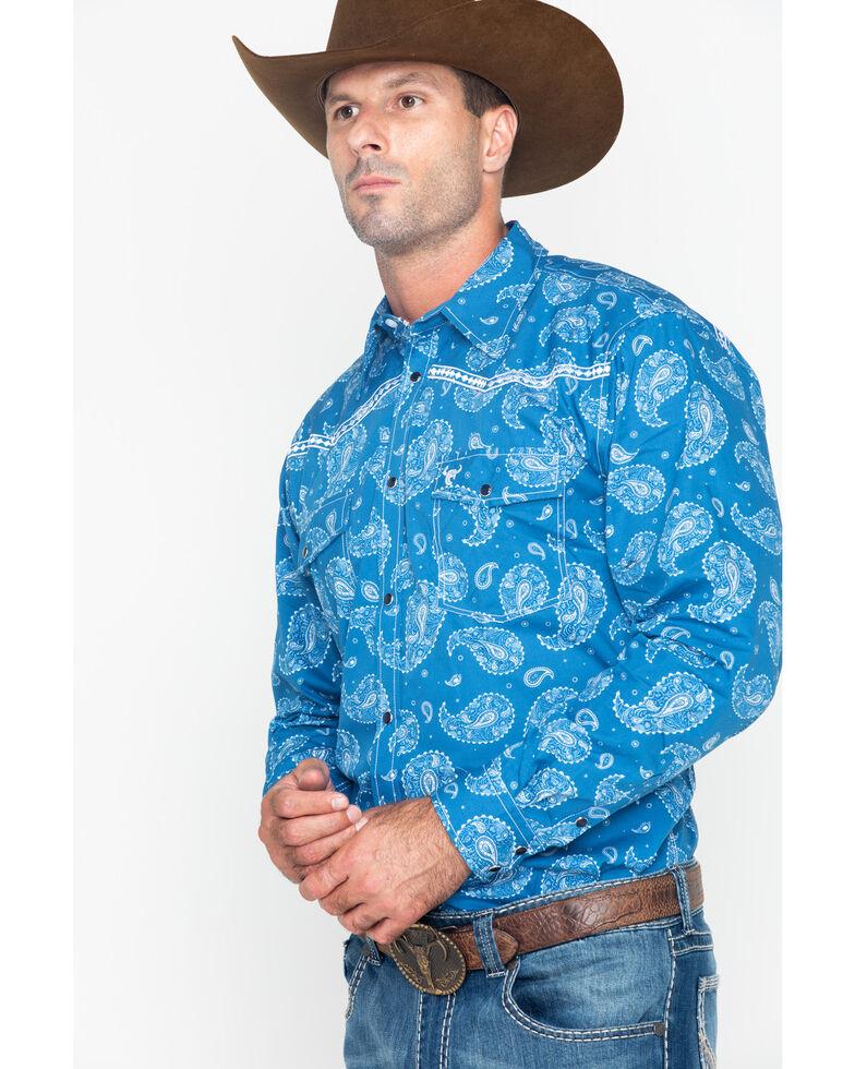 Cowboy Hardware Men's Paisley Print Long Sleeve Shirt , Blue, hi-res