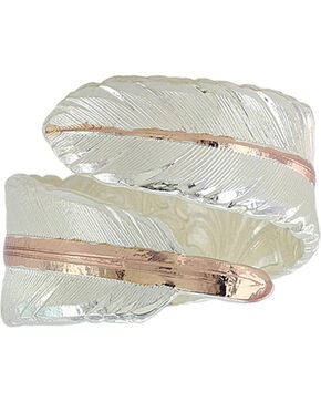 Montana Silversmiths Women's Rose Gold Filament Feather Ring , Silver, hi-res