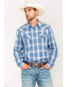 Cody James Men's Blue Snap Front Plaid Long Sleeve Western Shirt, Blue, hi-res