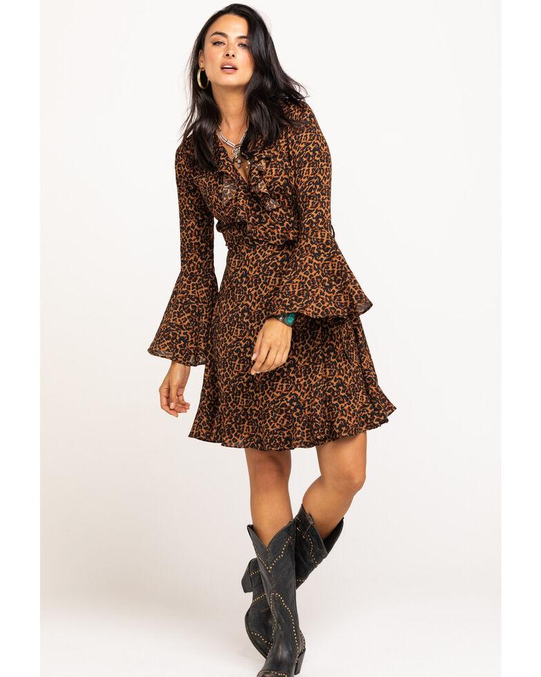 En Creme Women's Leopard Ruffle Wrap Dress , Leopard, hi-res