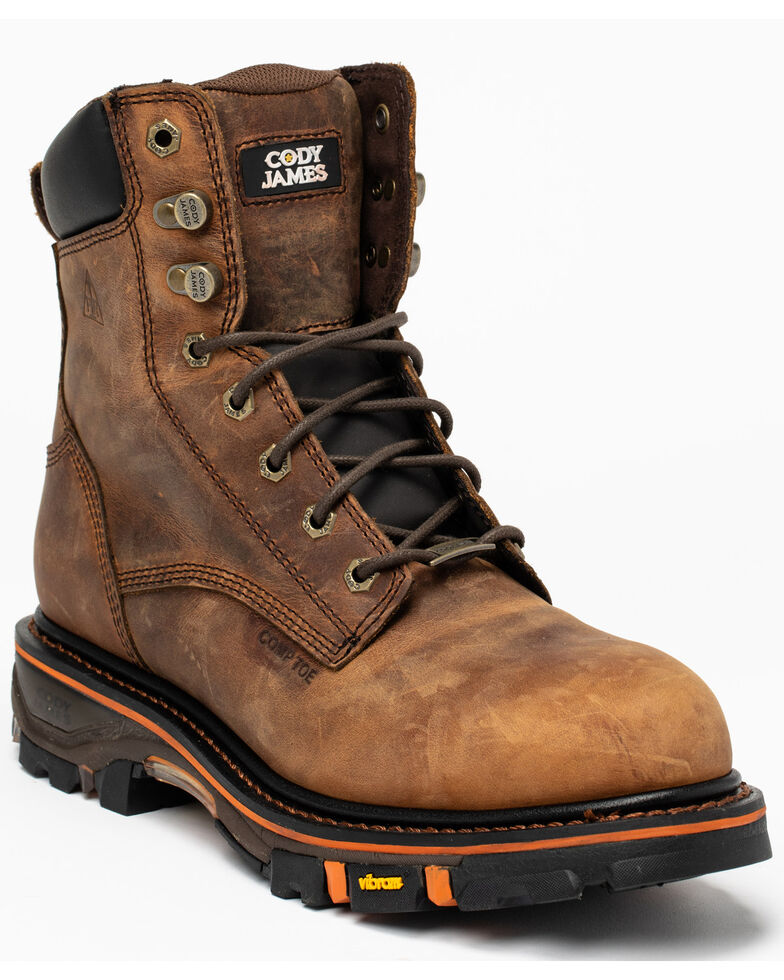 "Cody James Men's 8"" Decimator Work Boots - Soft Toe, Brown, hi-res"