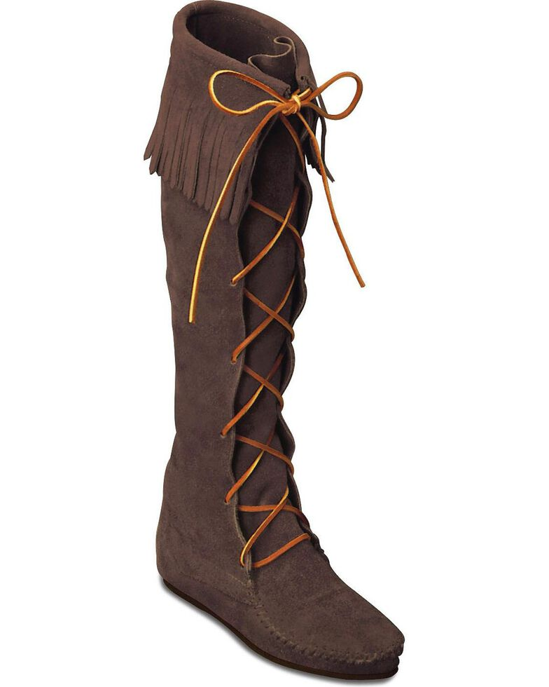 Minnetonka Front Laced Hard Sole Knee-High Fringe Boots, Dusty Brn, hi-res