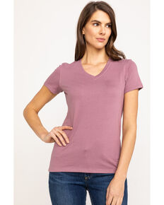 Carhartt Women's Lavender Lockhart V-Neck Short Sleeve T-Shirt, Lavender, hi-res