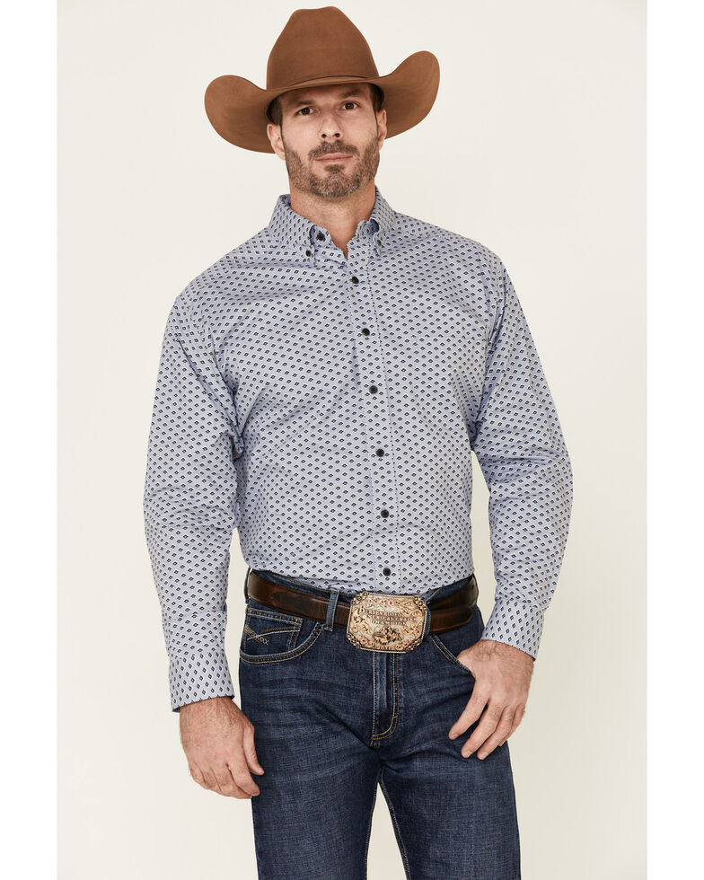Panhandle Men's Blue Geo Print Performance Long Sleeve Western Shirt , Blue, hi-res