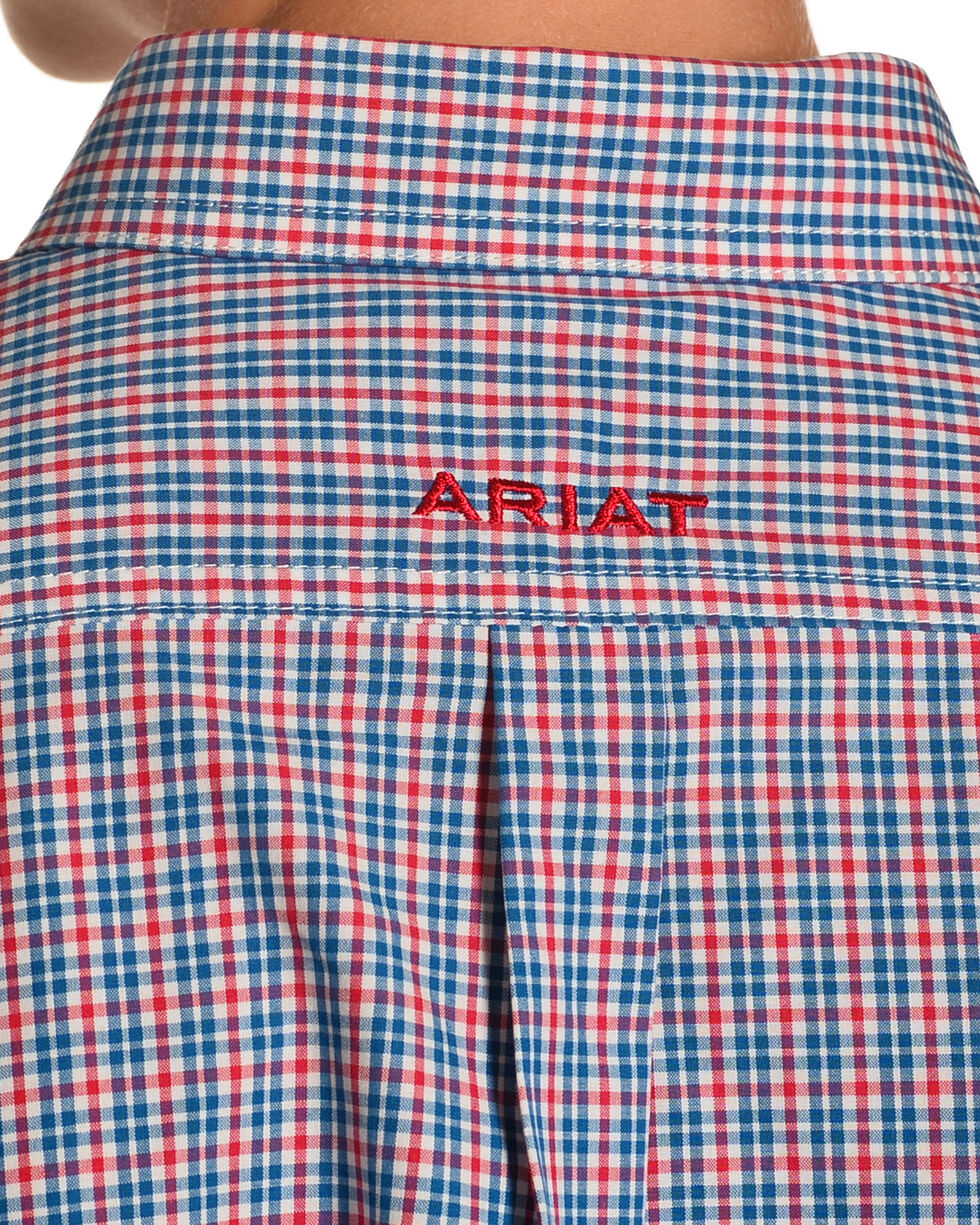 Ariat Boys' Lewisville Performance Fit Plaid Long Sleeve Button Down Shirt, Navy, hi-res