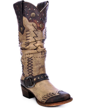 Corral Women's Studded Slouch Western Boots, Brown, hi-res
