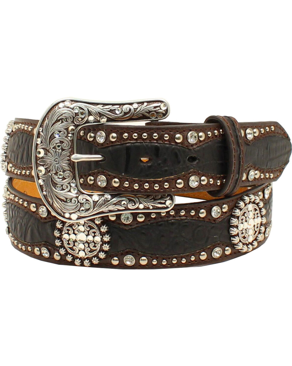 Ariat Women's Western Scalloped Gator Print Belt, Black, hi-res