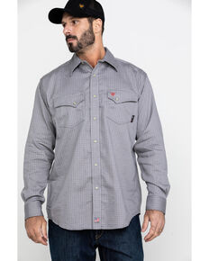 Ariat Men's FR Petro Snap Long Sleeve Work Shirt - Tall , Silver, hi-res