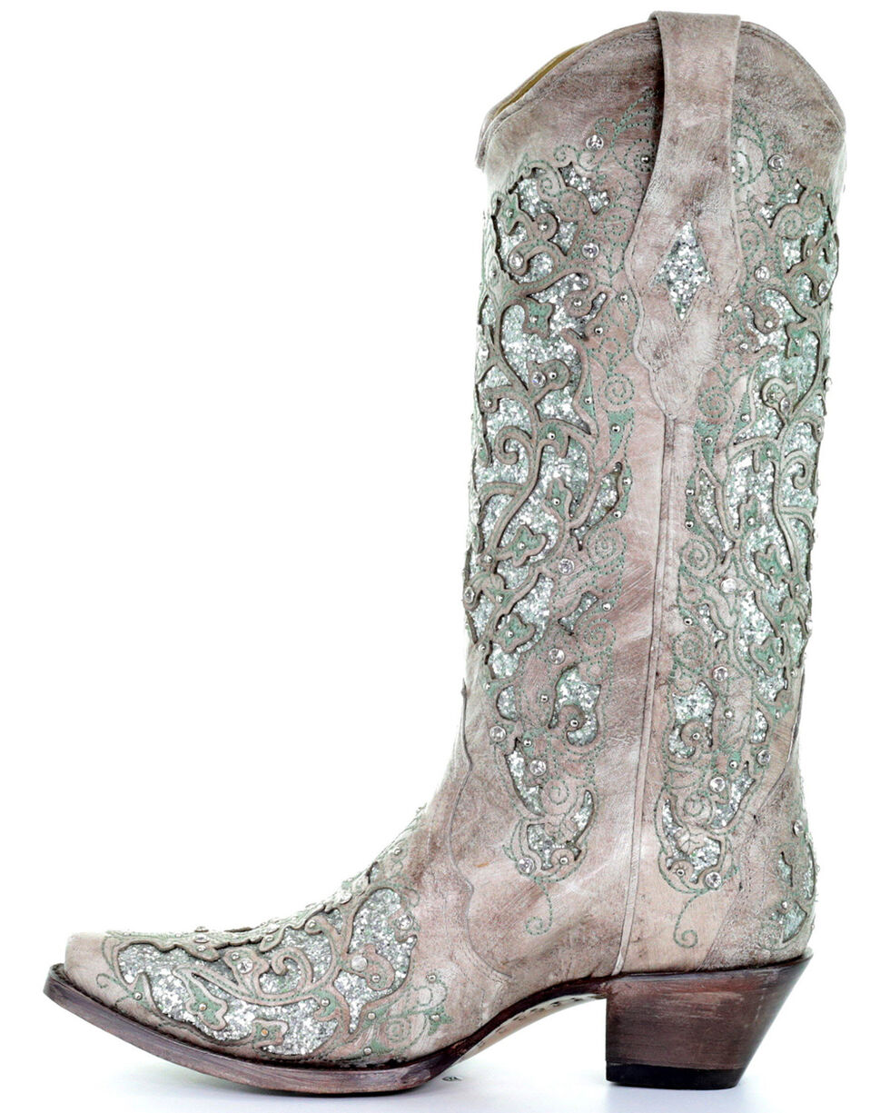 Corral Women's Glitter Inlay and Crystals Western Boots, White, hi-res