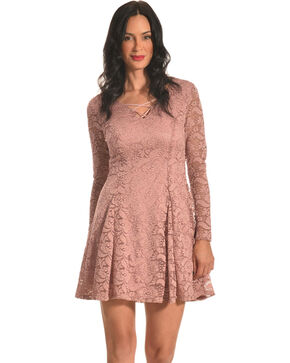 Jody of California Women's Criss Cross Neck Mauve Lace Dress, Mauve, hi-res