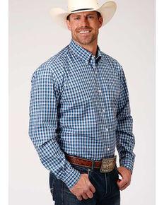 Roper Men's Amarillo Americana Check Plaid Long Sleeve Western Shirt , Blue, hi-res