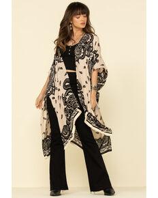 Angie Women's Bold Tan Paisley Print Kimono, Tan, hi-res