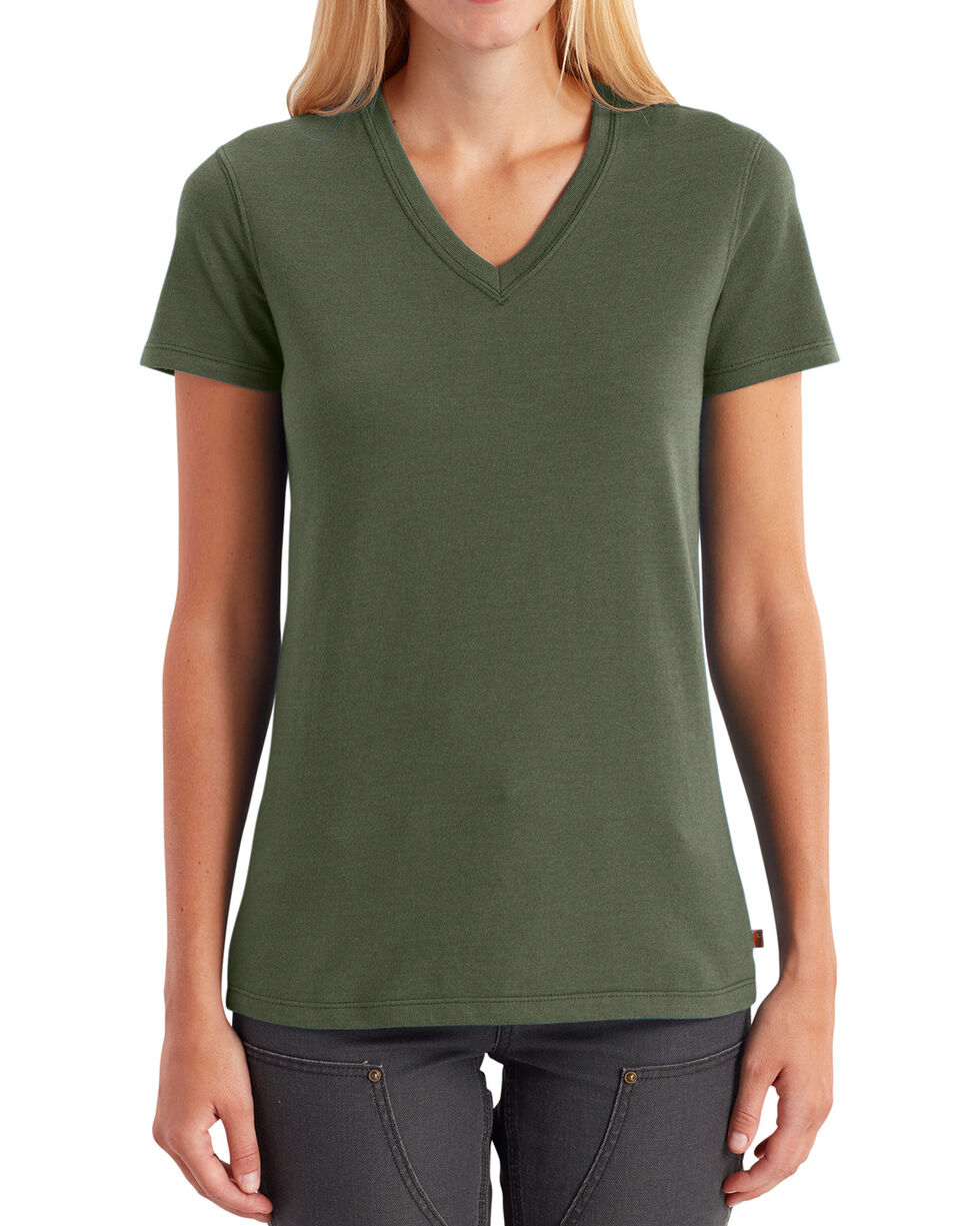 Carhartt Women's Lockhart V-Neck Tee, Moss Green, hi-res