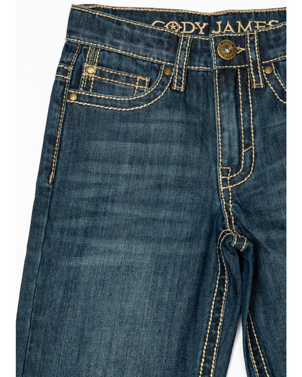 Cbho19d30-Lit Cody James Boys 4-8 Blue Shadow Stretch Slim Bootcut Jeans