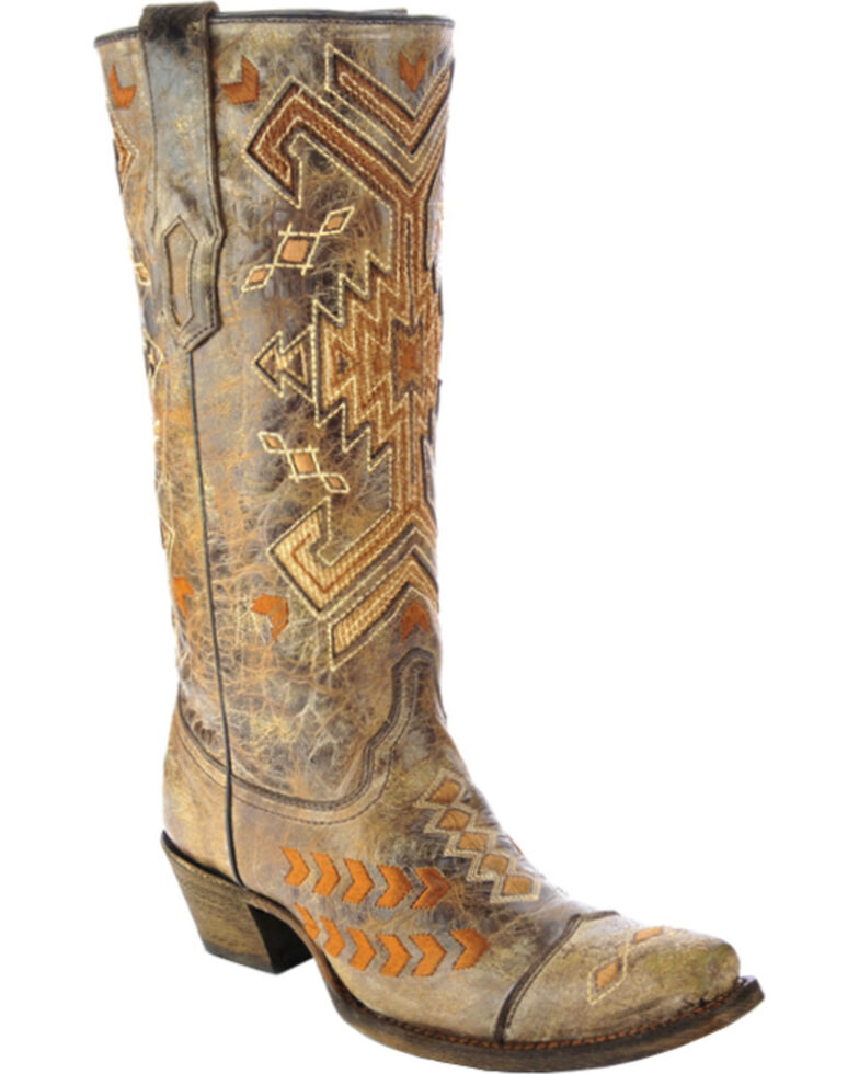 Corral Women's Multicolored Jute Inlay Western Boots, Brown, hi-res
